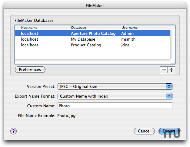 Screenshot 1 for ApertureToFileMaker