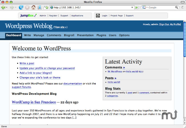 Screenshot 1 for JumpBox for Wordpress