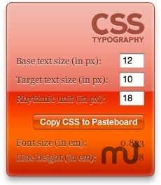 Screenshot 1 for CSS Typography Calculator