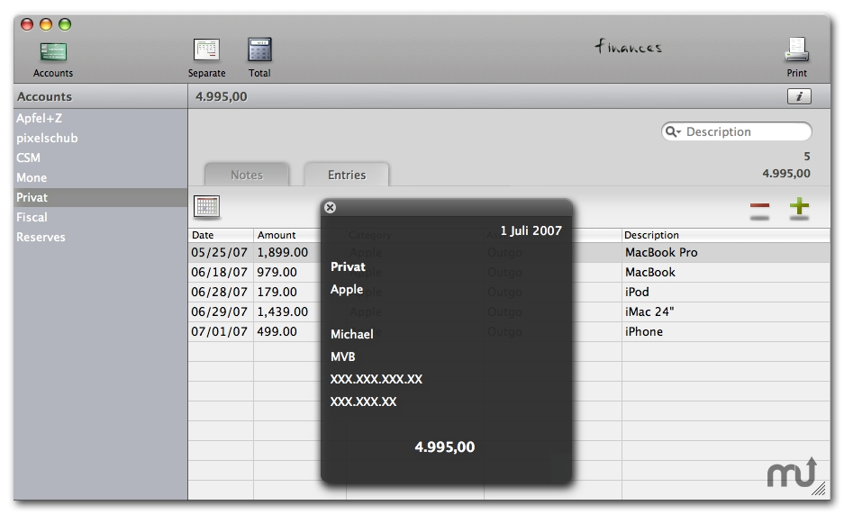 Screenshot 1 for Finances