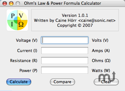 Screenshot 1 for Ohm's Law & Power Formula Calculator