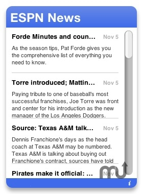 Screenshot 1 for ESPN RSS Widget