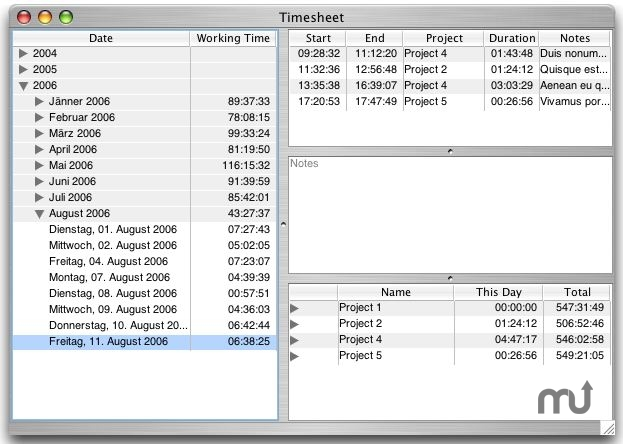 Screenshot 1 for Timesheet