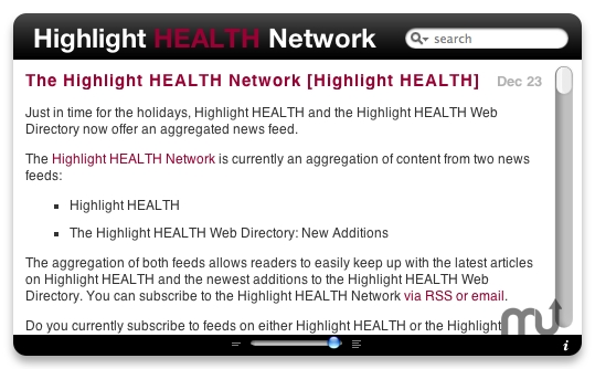 Screenshot 1 for Highlight HEALTH Network RSS