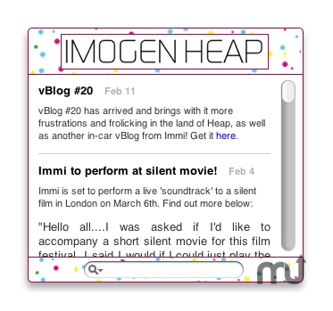 Screenshot 1 for Imogen Heap Widget