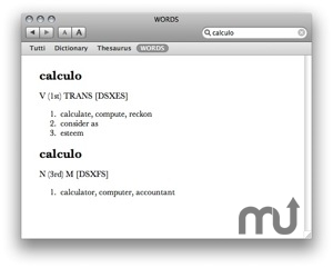 Screenshot 1 for WORDS Latin Dictionary
