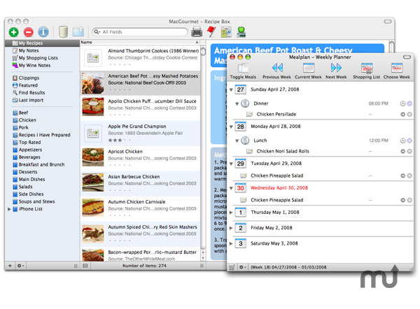 Screenshot 1 for MacGourmet:Mealplan