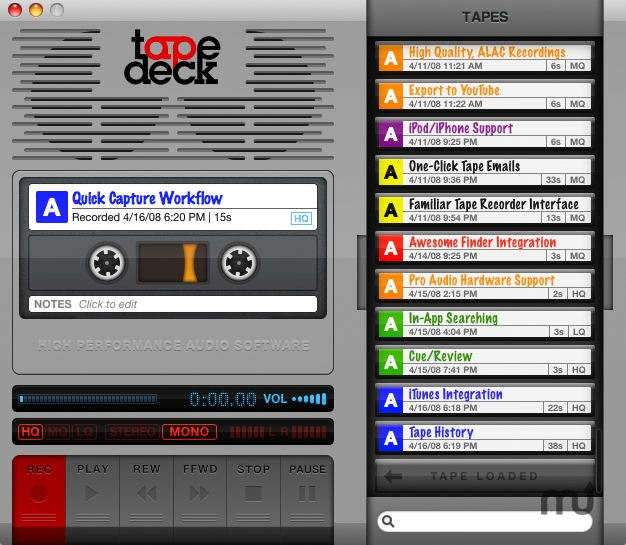 Screenshot 1 for TapeDeck