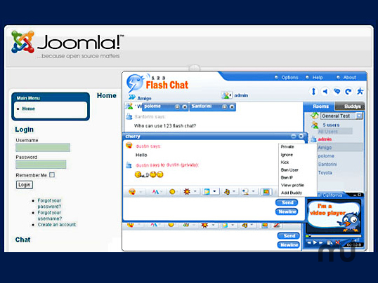 Screenshot 1 for 123 Flash Chat Joomla Module/Component