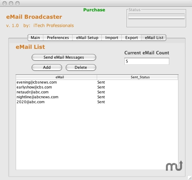Screenshot 1 for eMail Broadcaster