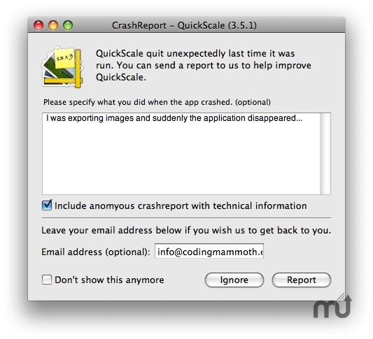 Screenshot 1 for CMCrashReporter