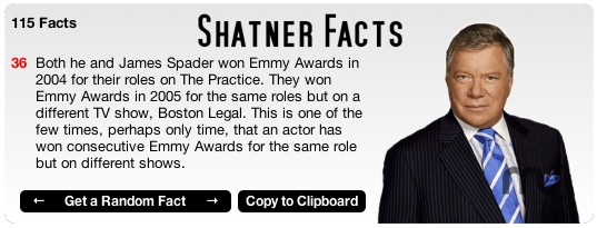 Screenshot 1 for Shatner Facts