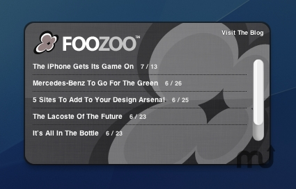 Screenshot 1 for Foozoo Design Blog Widget