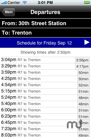 Screenshot 1 for theNextTrain SEPTA