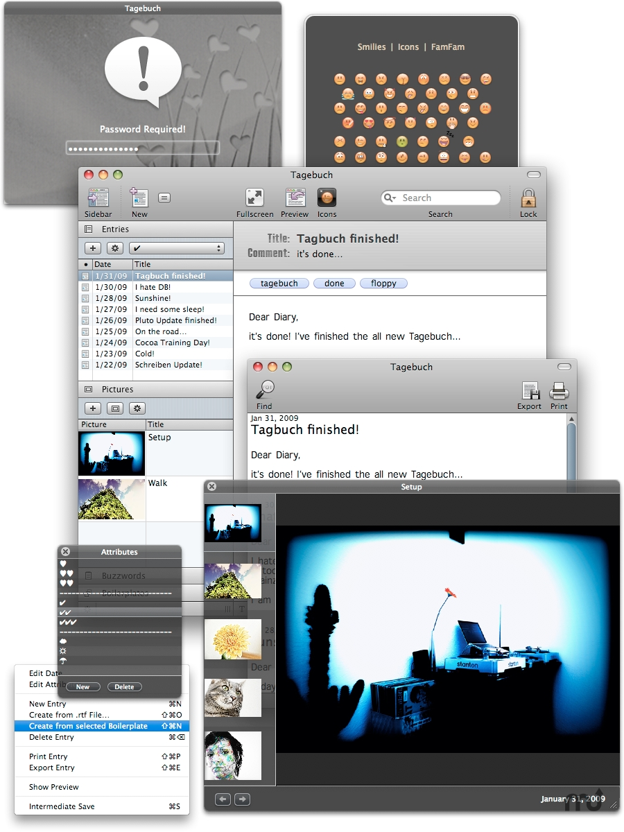 Screenshot 1 for Tagbuch Pro