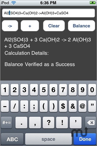 Screenshot 1 for Chemical Equation Balancer