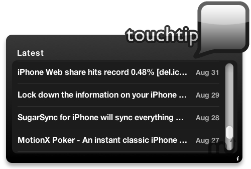 Screenshot 1 for Touchtip Widget