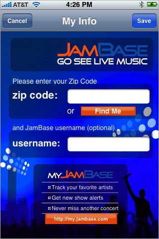 Screenshot 1 for JamBase