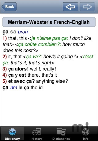 Screenshot 1 for Merriam-Webster's French-English Dictionary