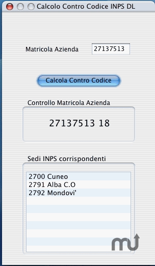 Screenshot 1 for Calcolo ControCodice INPS