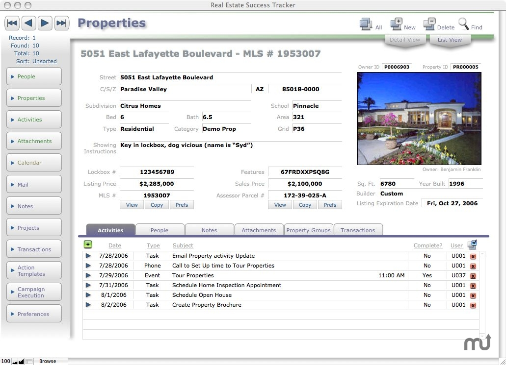 Screenshot 1 for Real Estate Success Tracker