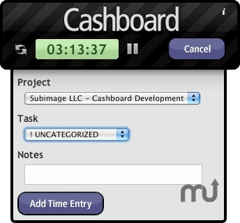 Screenshot 1 for Cashboard Time Tracker Widget
