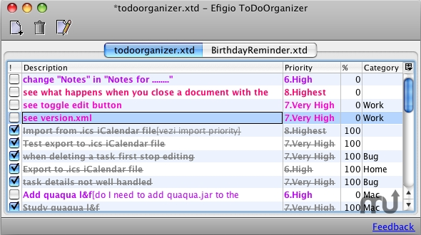 Screenshot 1 for Efigio ToDo Organizer