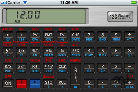 Screenshot 1 for 12C Platinum ALG/RPN Calculator