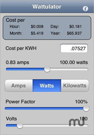 Screenshot 1 for Wattulator - Energy Cost Calculator