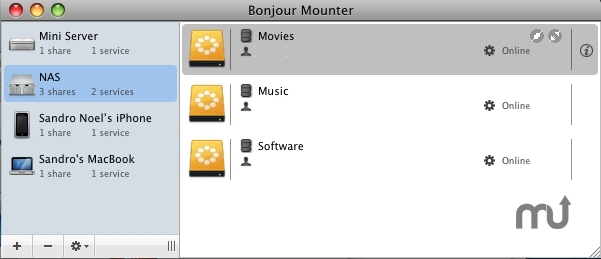 Screenshot 1 for Bonjour Mounter