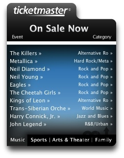 Screenshot 1 for Ticketmaster Widget