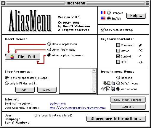 Screenshot 1 for AliasMenu