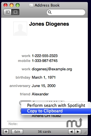 Screenshot 1 for Address Book Copy to Clipboard