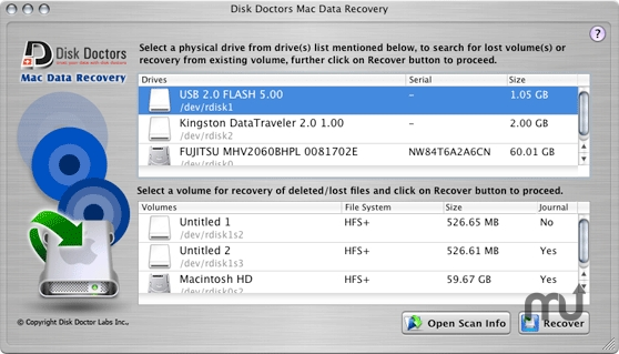 Screenshot 1 for Disk Doctors Mac Data Recovery