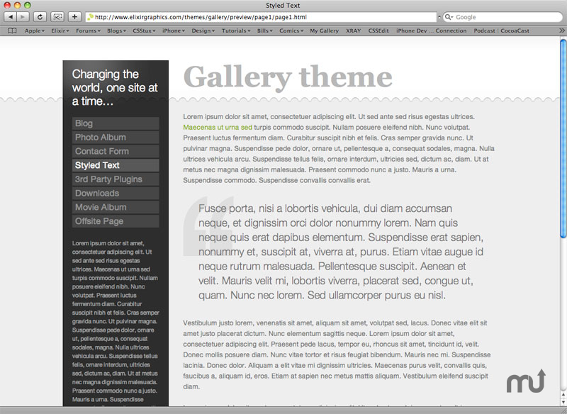 Screenshot 1 for Gallery Theme