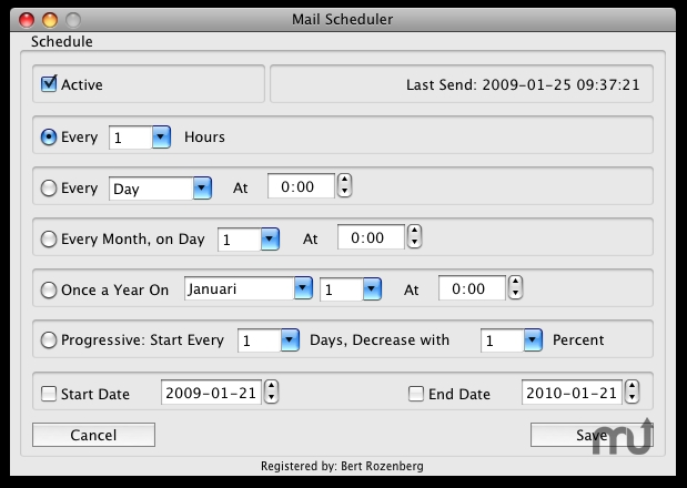 Screenshot 1 for Mail Scheduler