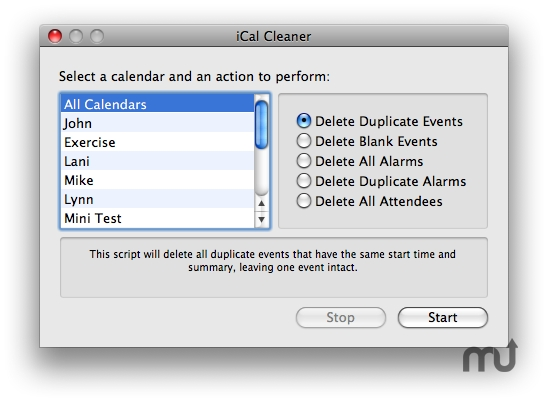 Screenshot 1 for iCal Cleaner