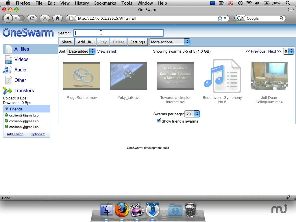 Screenshot 1 for OneSwarm