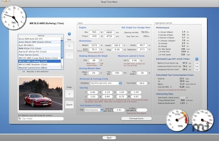 Screenshot 1 for Road Test Motion Physics Dynometer Simulator