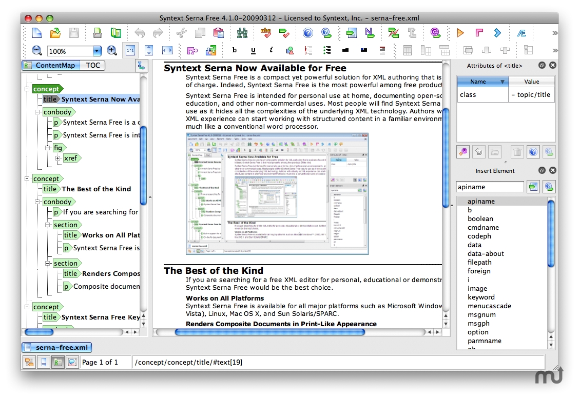 Screenshot 1 for Serna Free XML Editor