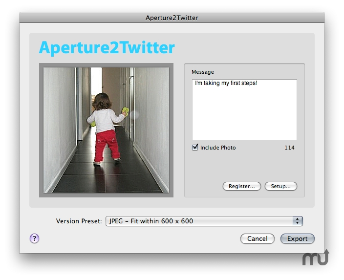Screenshot 1 for Aperture2Twitter