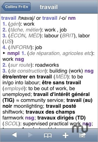 Screenshot 1 for Collins French Dictionary & Grammar