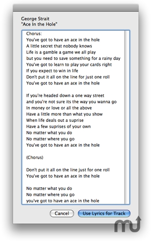Screenshot 1 for Lyrics Via LyricWiki