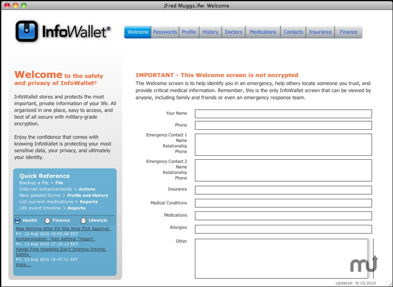 Screenshot 1 for InfoWallet