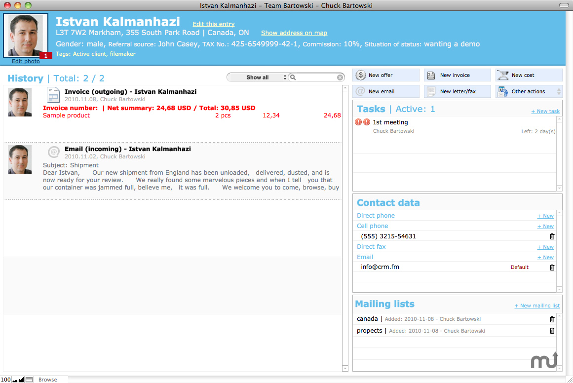 Screenshot 1 for iDeal CRM for OS X
