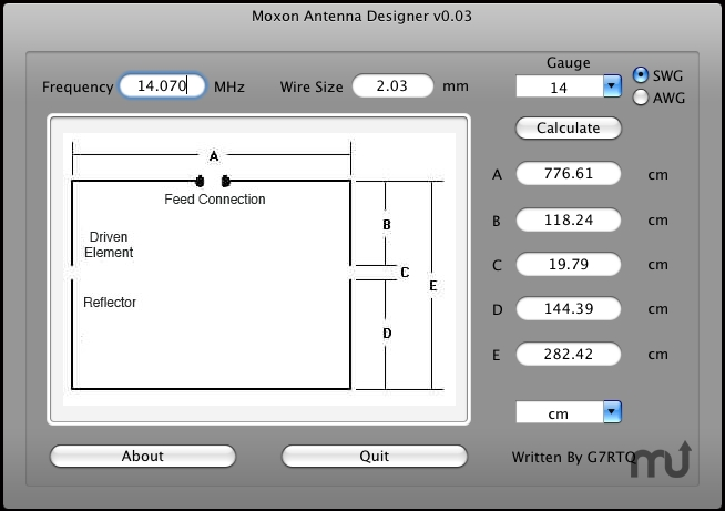 Screenshot 1 for Moxon Antenna Designer