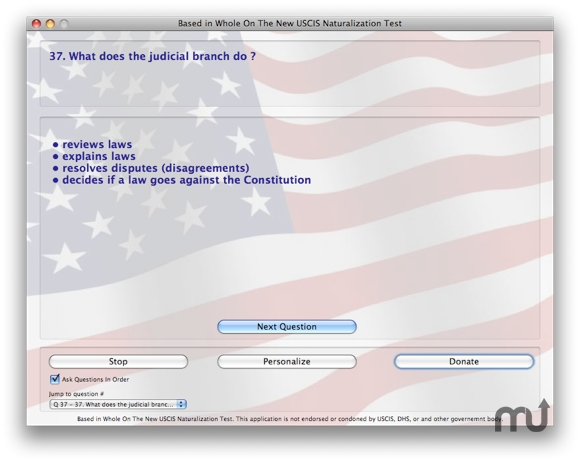 Screenshot 1 for Naturalization Test