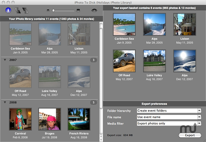 Screenshot 1 for iPhoto to Disk