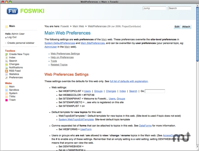 Screenshot 1 for JumpBox for Foswiki Wiki System