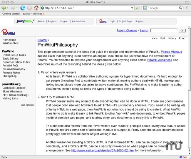 Screenshot 1 for JumpBox for the PmWiki Wiki Software